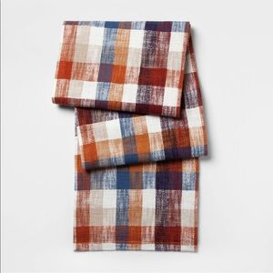 NEW THRESHOLD Fall Plaid Table Runner 14 x 72 rust
